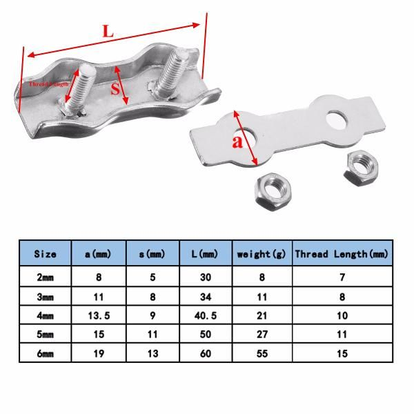 Description: Stainless Steel Wire Cable Rope Grips Clamps has simple ...