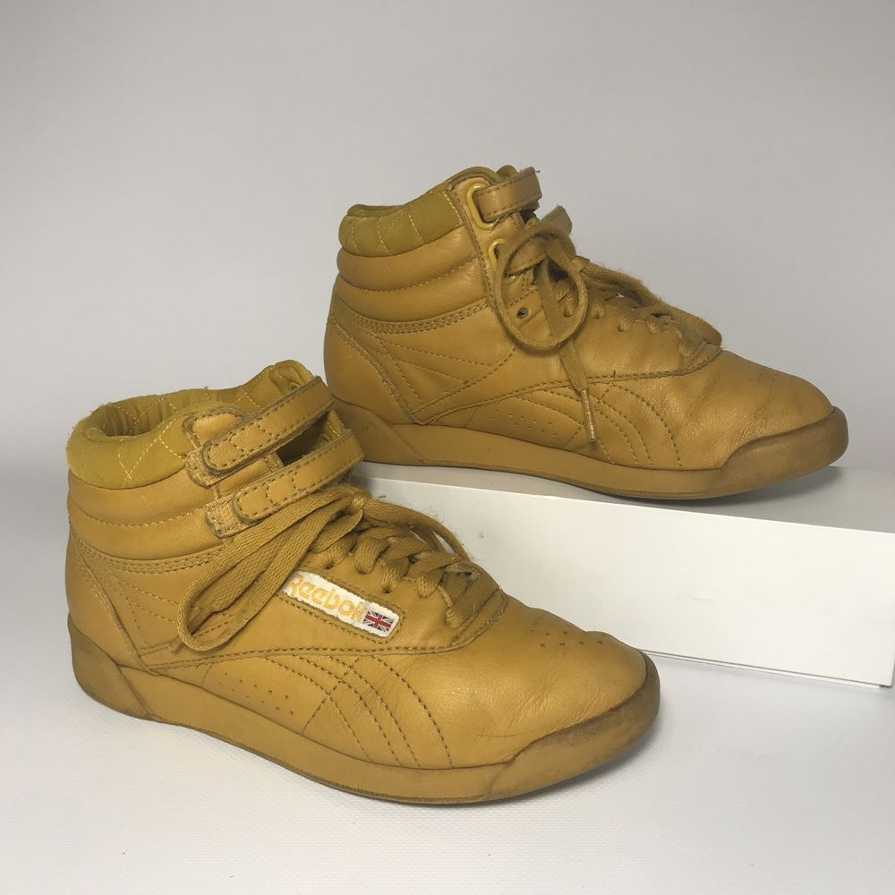 f0ac8eb5674f9 Reebok Vintage 80s Freestyle Aerobic High Top Mustard Yellow Womens ...