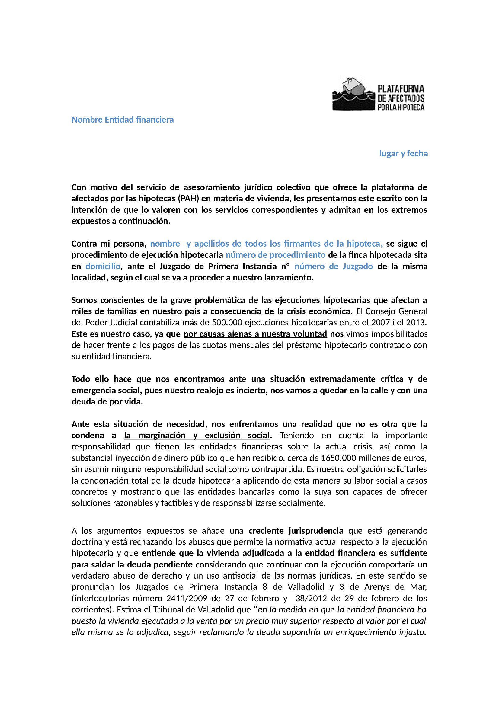 Modelo escrito para pedir condonaci n deuda a cambio de entrega de piso y llaves del afectado - Cambio de pisos entre particulares ...