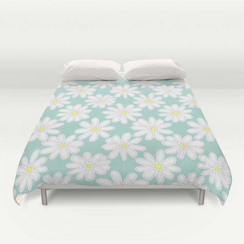 Bright Happy Daisies on Mint Duvet Cover