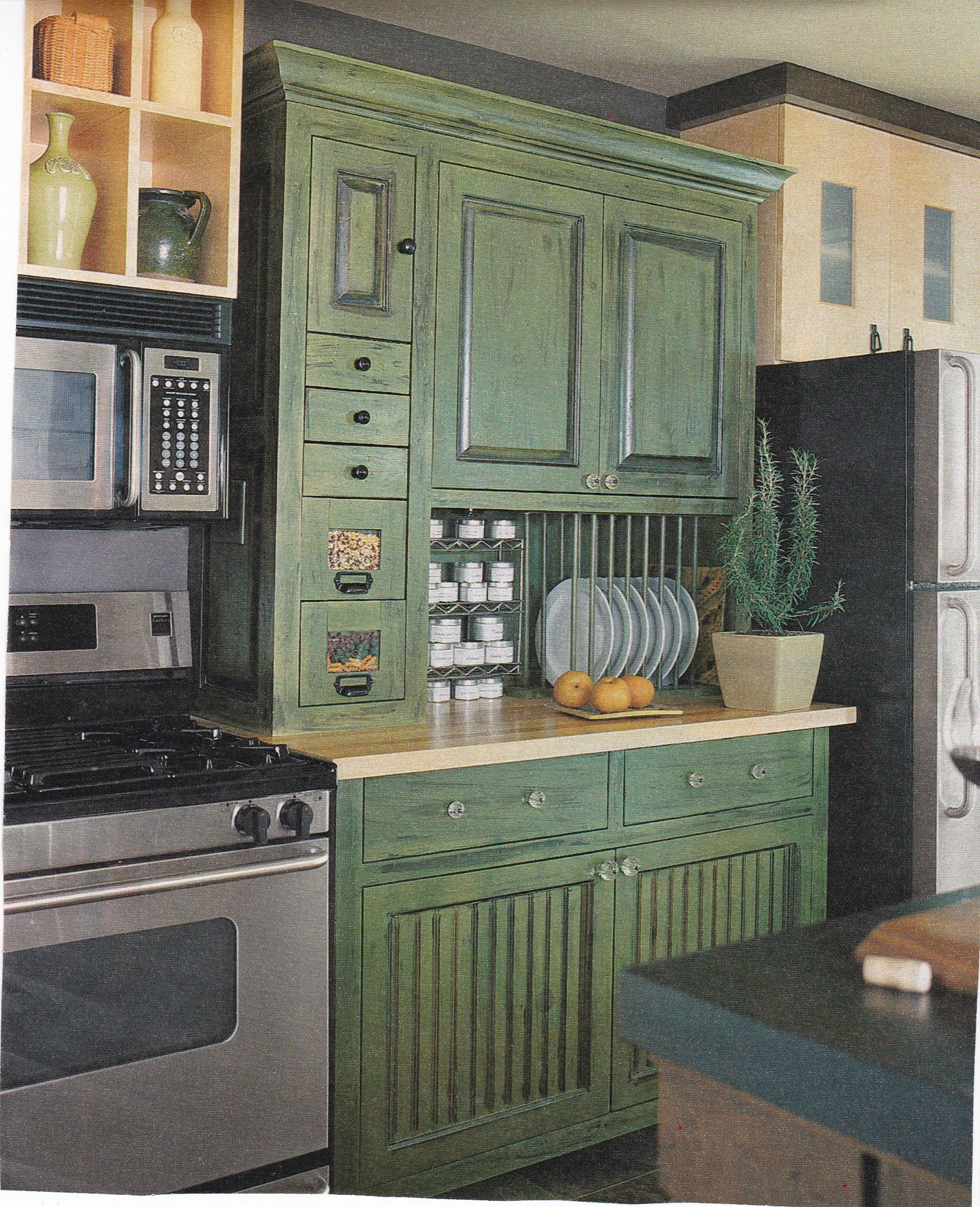 Kitchen Remake Kitchen Hutch Beside The Stove Is Balanced With Shelves Over The