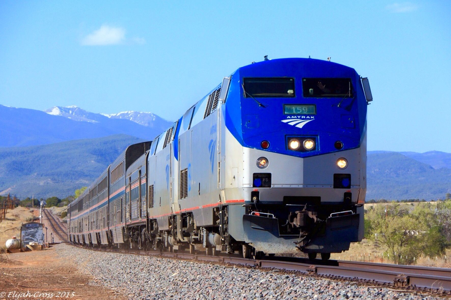 Amtrak GE P42DC AMTK 159 at Rowe, New Mexico, USA