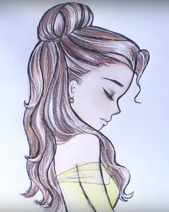 Heres How To Draw Disney Princess Belles Hair Drawing By DebbyArt