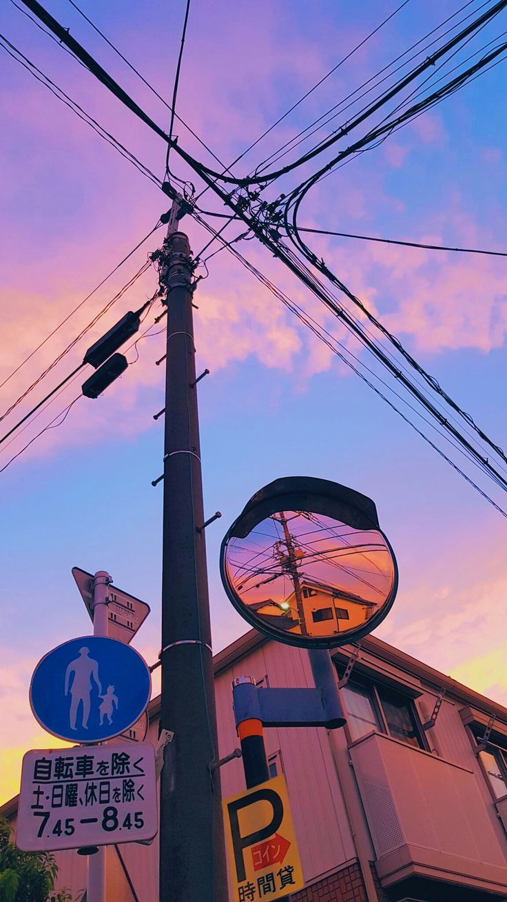 sunset city power lines #wallphone