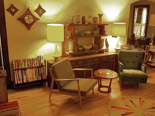 Retro 50s Living Room | The Coffee Table Shows A Typical 50s Style Organic  Shaped Coffee Pot .