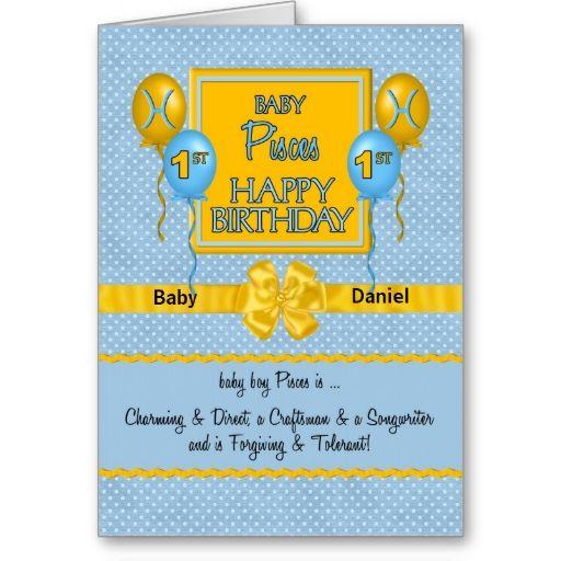 Baby boys 1st birthday pisces zodiac card pisces birthday baby boys 1st birthday pisces zodiac card m4hsunfo