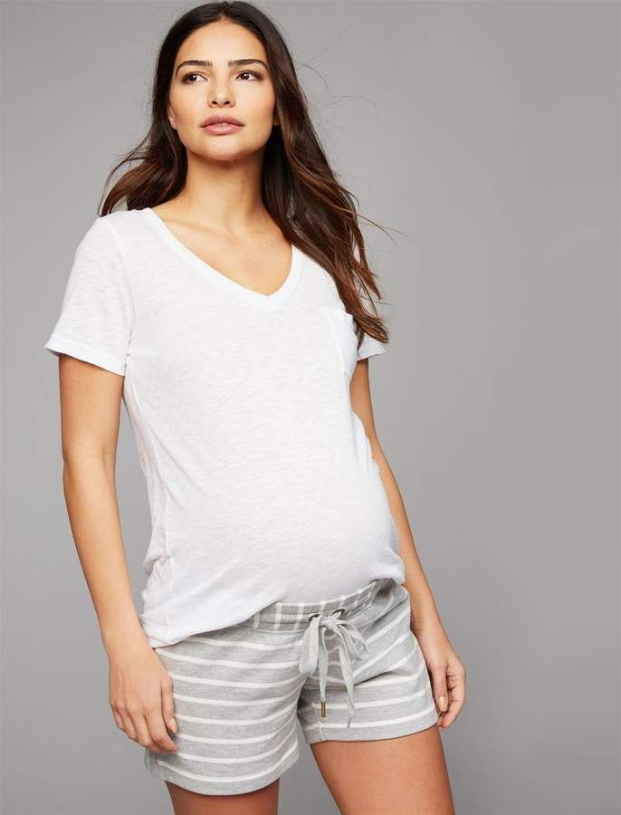 e9ca928551eb1 A Pea In The Pod Under Belly French Terry Skinny Leg Maternity Shorts