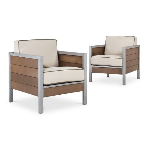 $499  Set Of 2 Threshold™ Bryant 2 Piece Faux Wood Oversized Patio Club