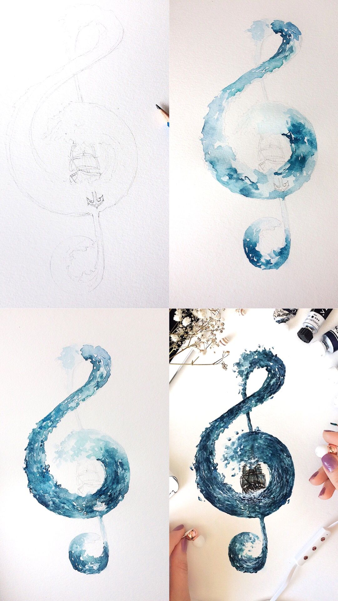 Mini treble clef painting tutorial  #trebleclef
