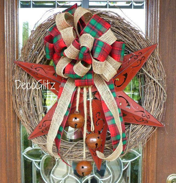 RED STAR Grapevine Christmas Wreath with Red Plaid by decoglitz