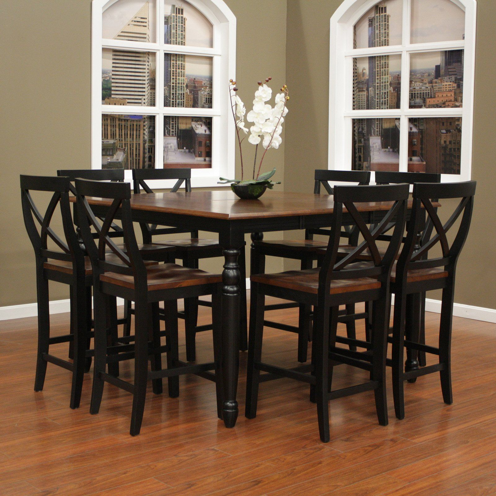 American Heritage Berkshire 9 Piece Butterfly Counter Height Dining Table  Set With Camden Chairs