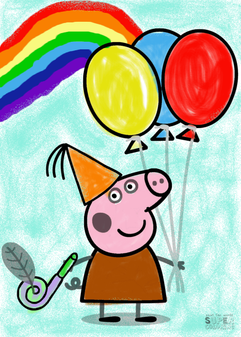 Peppa Pig With Ballons Samuel Super Coloring In 2020 Coloring Books Free Printable Coloring Pages Coloring Pages For Kids