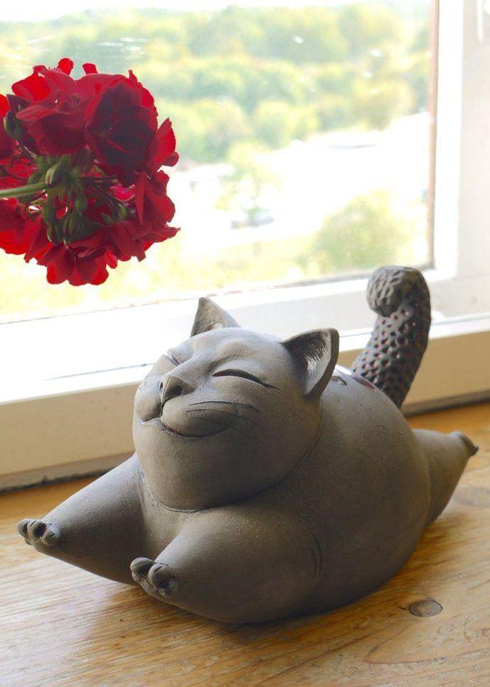 Keramik Katzenskulptur - schwarze lustige Katze Figur Fine Art - Keramik Katzenskulptur ... #ceramicpottery