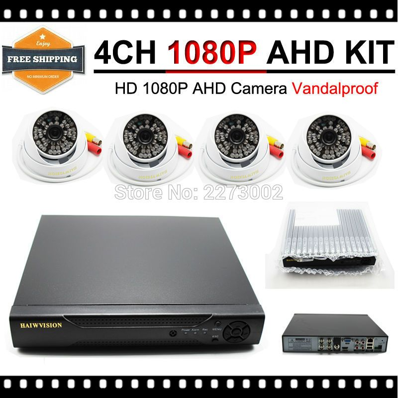 HKES HD 1080P Security System 4CH 1080P AHD DVR Kit with IR Dome AHD Camera 2MP Outdoor