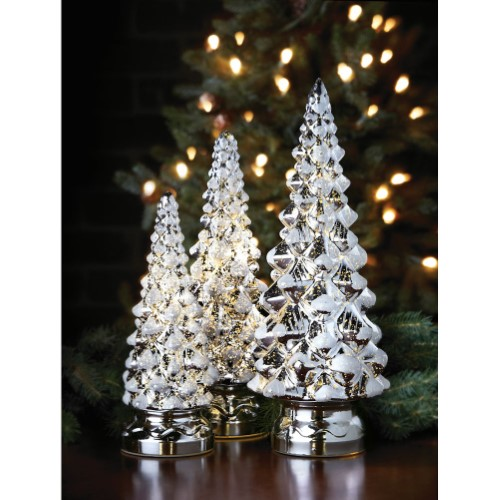 Mr Christmas Twinkling Trees 10 Inch 12 Inch And 14 Inch Silver Set Of 3 Mercury Glass Christmas Tree Mercury Glass Christmas Glass Christmas Tree