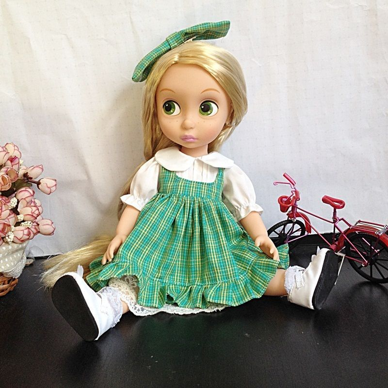 """Disney Cindy Toddler Doll H15: Disney+Animator's+Collection+16""""+Green+Check+Dress+Bow"""