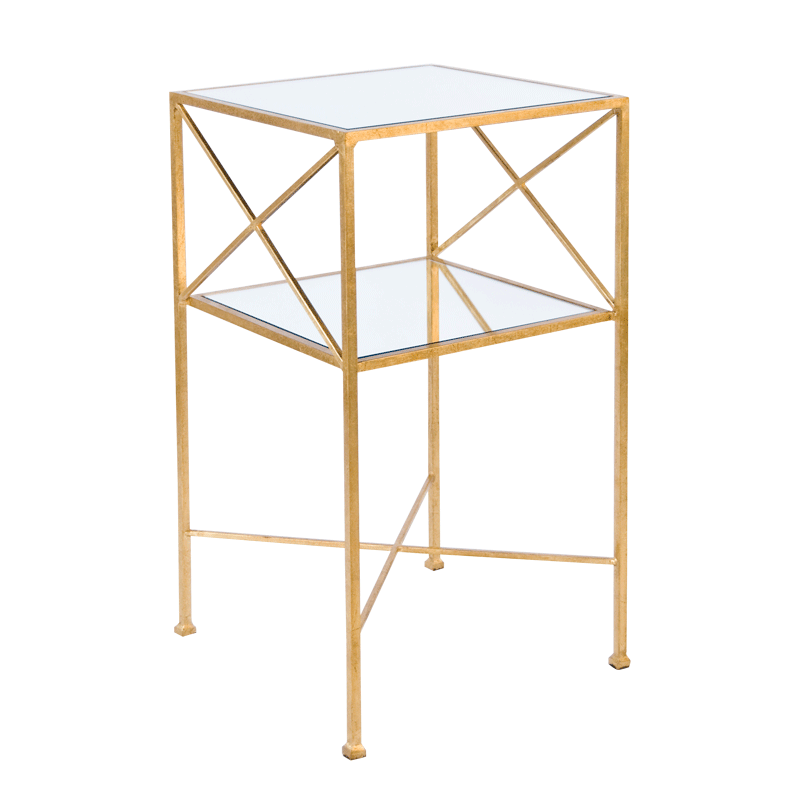 Henri G Gold Leaf Square 2 Tier Table With Plain Mirror Shelves Square Side Table Mirrored Side Tables Contemporary Side Tables