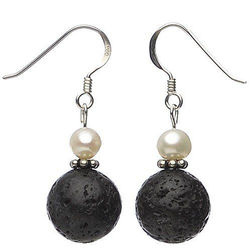 Earrings eardrops made of real lava with pores & pearls black white ladies E9nlTG
