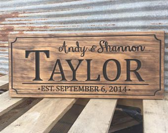 Custom Engraved Family Name Wood Sign Personalized Wooden Plaque Home Decor Rustic Cnc Laser