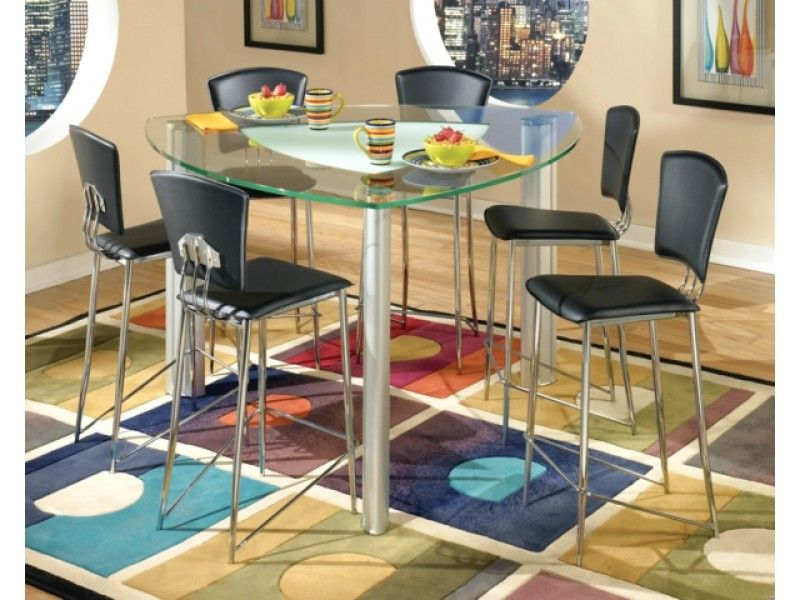 Triangular Modern Tracy Glass Counter Height Table Chrome Stools Black Pub Table And Chairs Counter Height Dining Table Dining Room Table Set