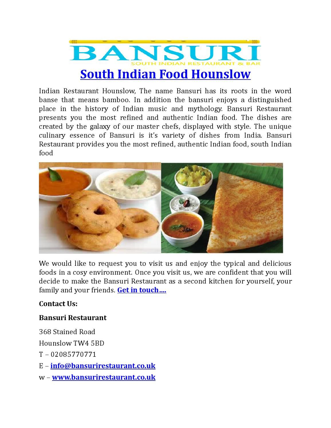 South Indian Food HounslowBansurirestaurant  South Indian Food
