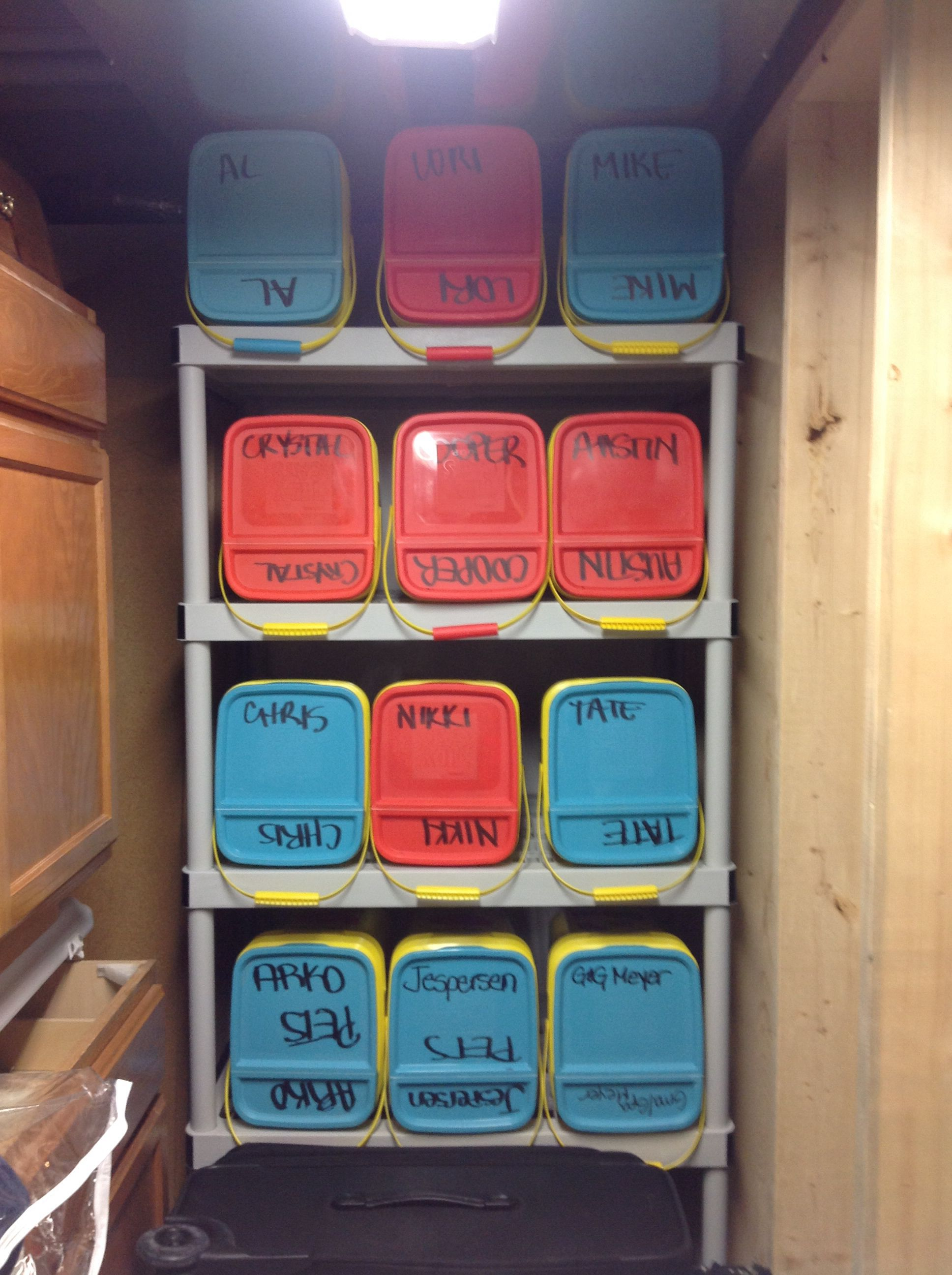 Stockings Are A Big Deal In Our Family This Is How I Keep Organized And Repurpose My Empty Kitty Litter Container Reuse Containers Cat Litter Repurposed Items