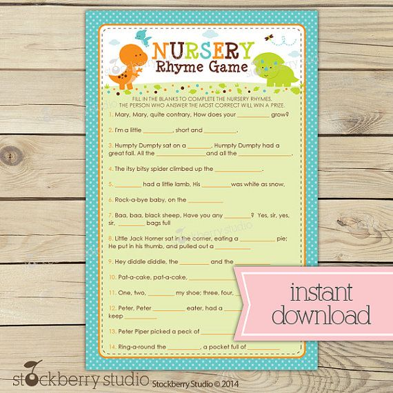 Dinosaur Baby Shower Nursery Rhyme Quiz   Boy Baby Shower Games Printable    Instant Download   Party Games   Dino Baby Shower   Baby Games