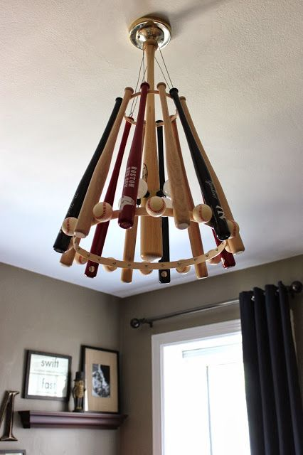 Baseball Themed Nursery Decor DIY Handcrafted Bat Chandelier Would Be Cool In A Man Cave Too