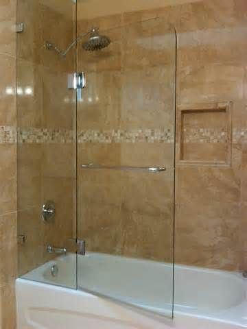 Would Love To Do A Glass Enclosure Around The Bath To Let More Natural Light Through Curtains A Bathtub Shower Doors Bathroom Shower Doors Glass Tub Enclosure
