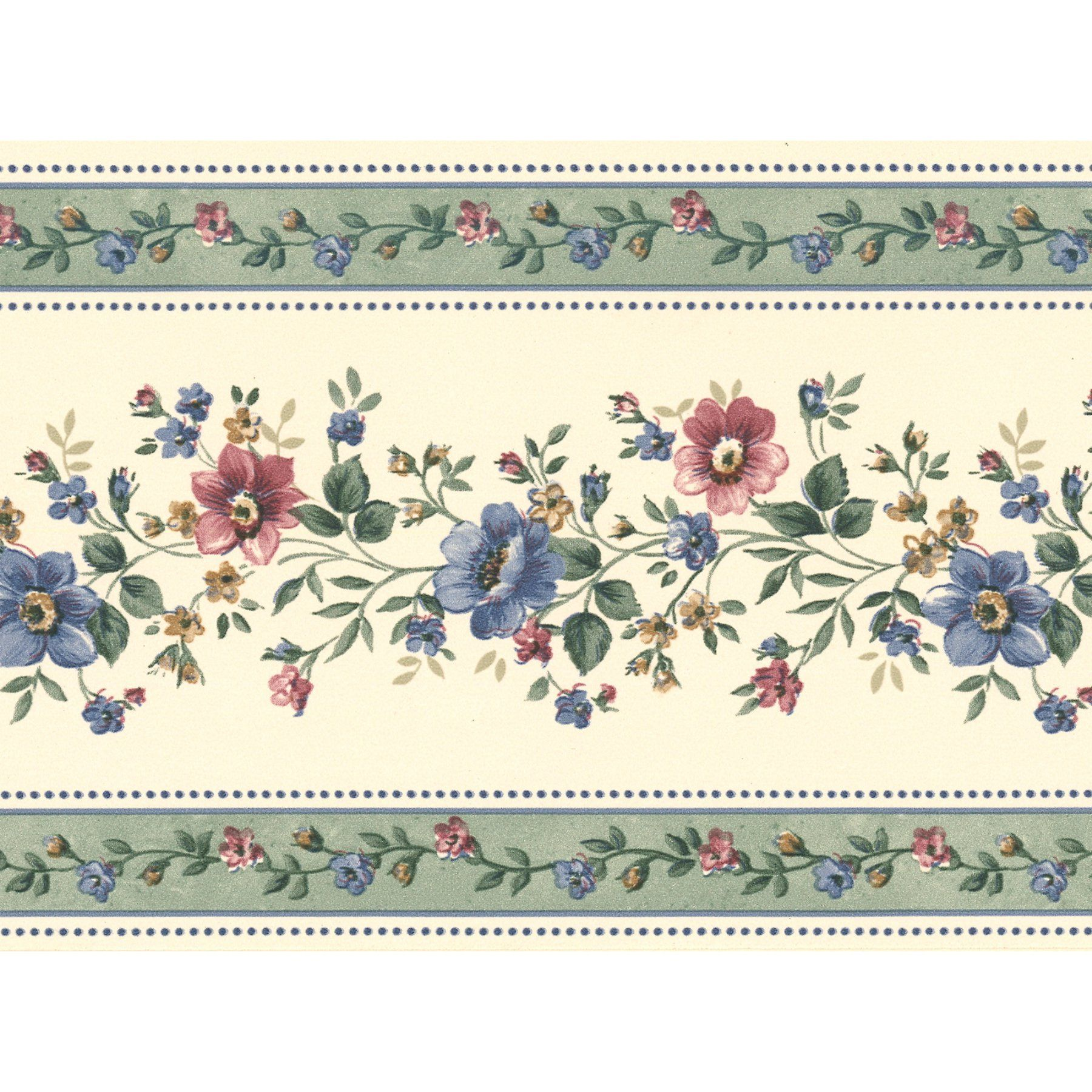 Brewster Linda Floral Stripe Wall Border 413B05573