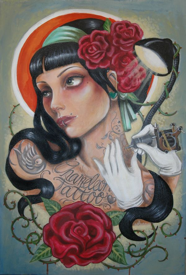Tattoo Paintings By Lisa Mcintyre Tattoo Style Art Painting Art
