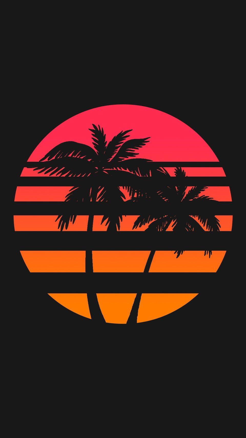 Reddit Iwallpaper 1080x1920 Retrowave Palm Sun Wallpaper Neon Wallpaper Ponsel Hitam Seni Murni