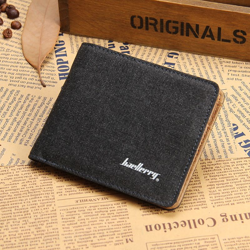 Classical Black Brown Fashion Quality Men Wallets Canvas Zip Pocket