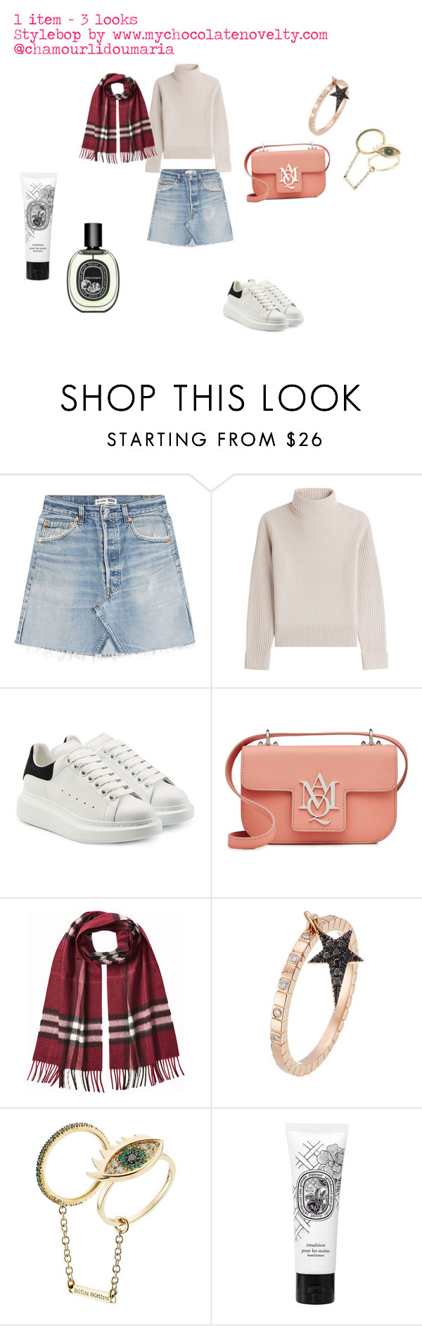 """One item - three looks"" by maria-chamourlidou ❤ liked on Polyvore featuring RE/DONE, Vanessa Seward, Alexander McQueen, Burberry, Diane Kordas, Delfina Delettrez and Diptyque"