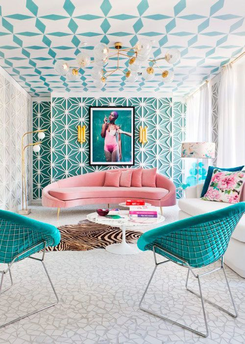 fabulous modern living room decor | Fabulous mid century modern living room in teal and pink ...