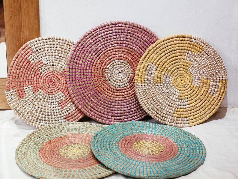 Seagrass Weaving Handmade Placemat Braided Mat Heat Resistant Hot Insulation Vintage Natural Decor Table Top Tablewares Wall Decoration Baskets On Wall Woven Placemats Placemats