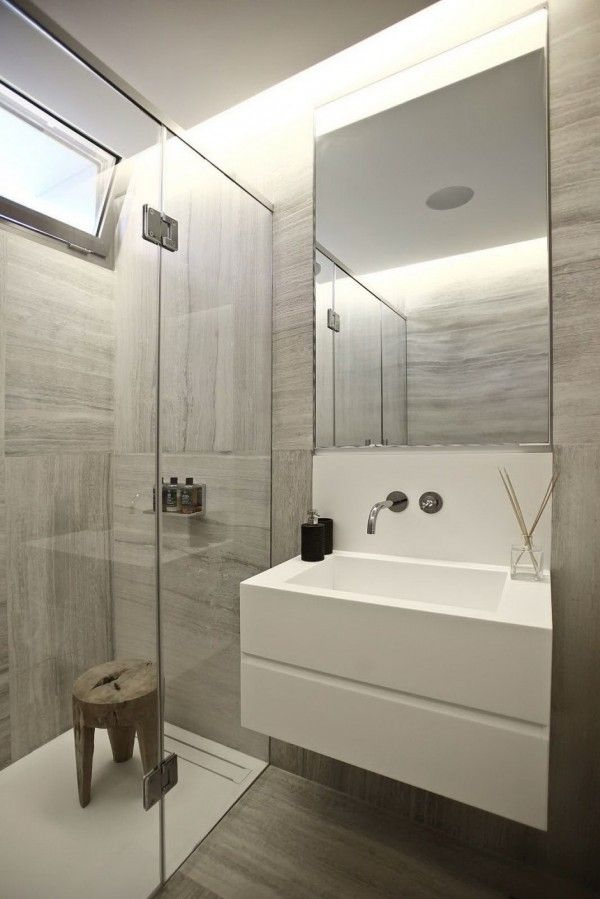 Nice Bold Cosmopolitan House In Instanbul White Modern Sink With Frameless  Mirror And Faux Wood Tile #
