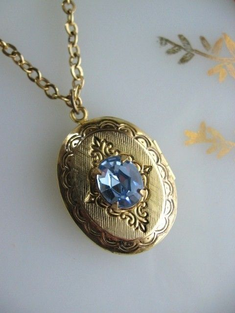 Antique Gold Etched Locket with Sapphire Rhinestone Necklace