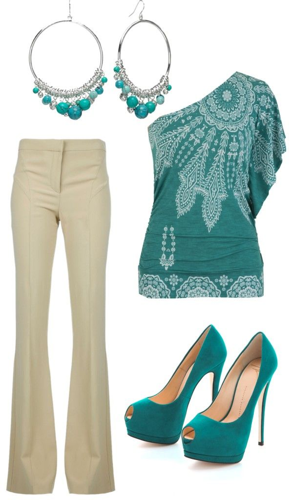 Tan and turquoise