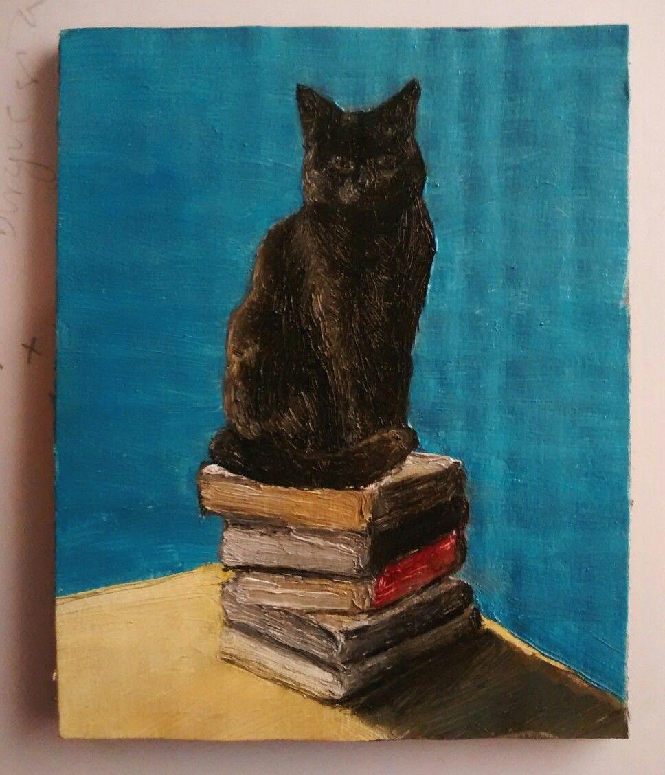 Negra sobre libros - Óleo sobre cartón, 9,5x11,5cm
