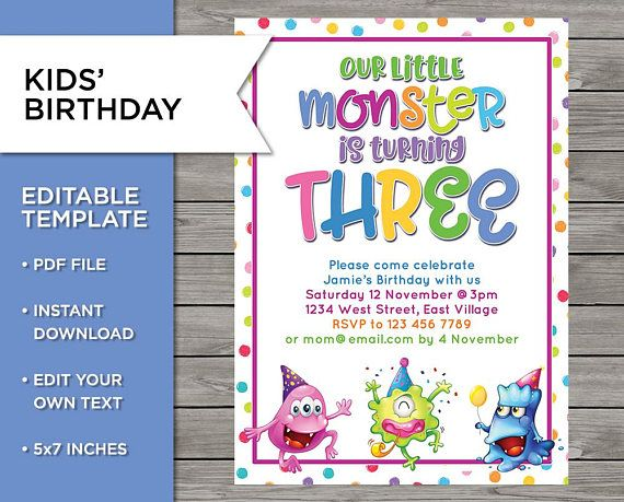 3rd Birthday Invite Diy Invitation 3 Years Old Boy Or Girl Birthday Invitations Fishing Birthday Invitations Birthday Invitations Diy