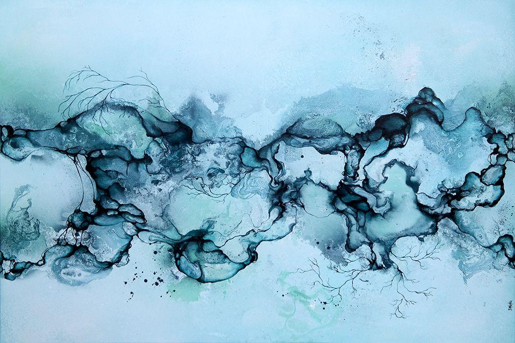 Abstrakt Kunst Til Salg stort #abstrakt #maleri til salg i #blå farver. moderne farverigt