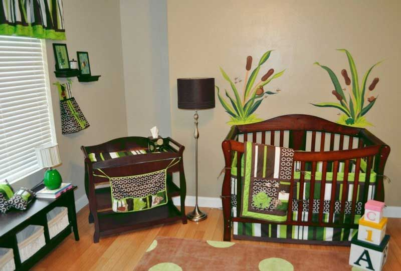 The Discount Sale baby boy crib bedding with 10 pc Frog Brown ...