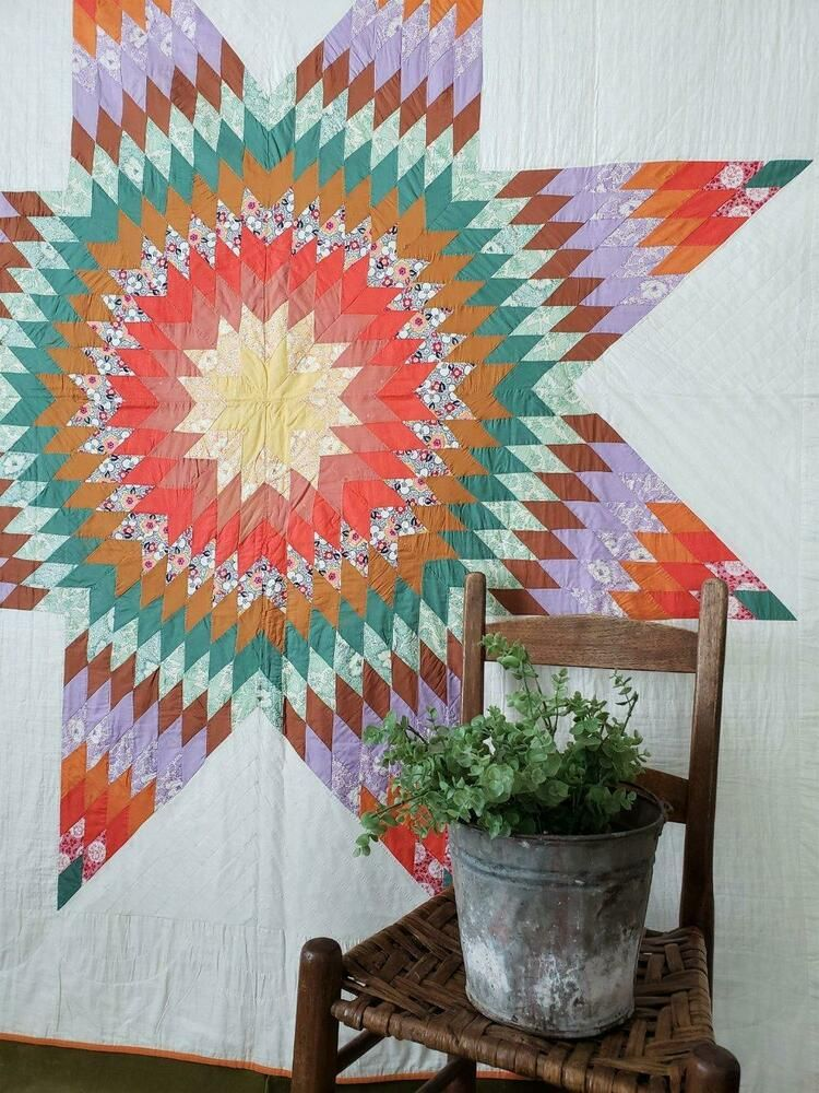 Western Sunset Colors Vintage Texas Star Quilt 86 X 80 Star