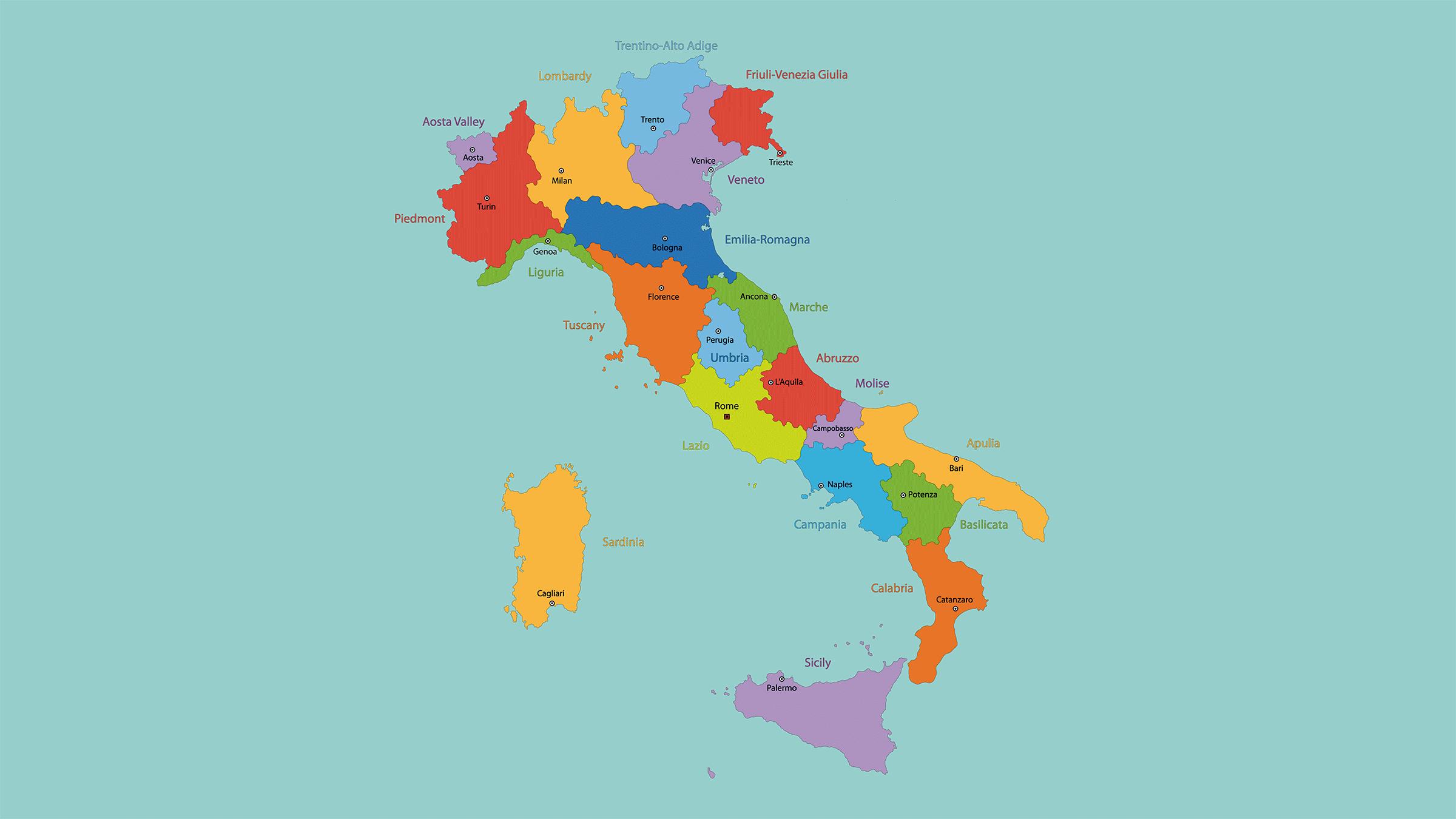 italia mapa politico Mapa político de Italia: regiones y capitales | MAPAS DE ITALIA  italia mapa politico