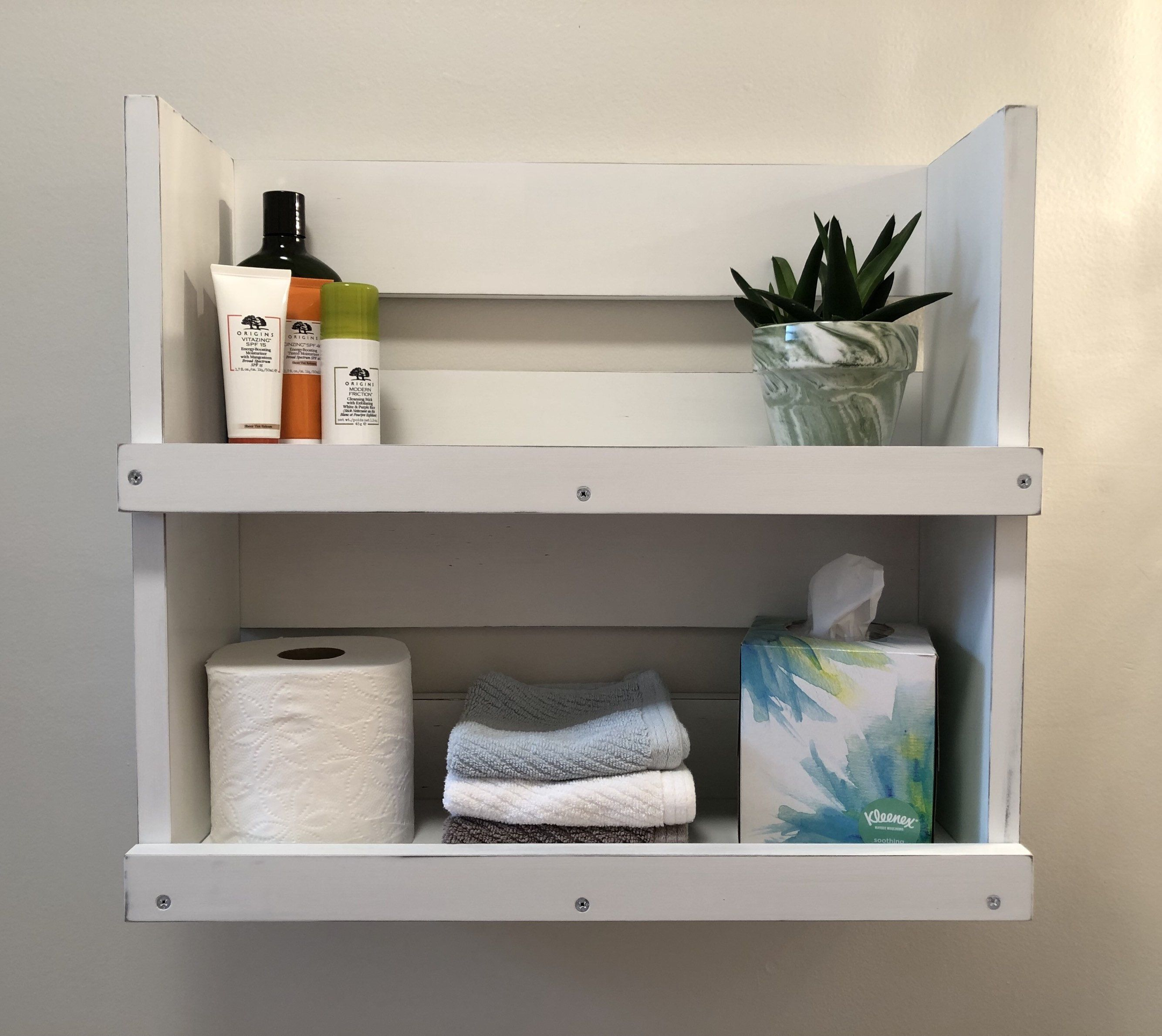 Bathroom Distressed White Wood Rustic Wall Mounted Shelf