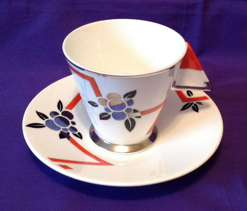 Beste Shelley Art Deco Rare Lightning Strike Mode Tea Cup and Saucer II-68