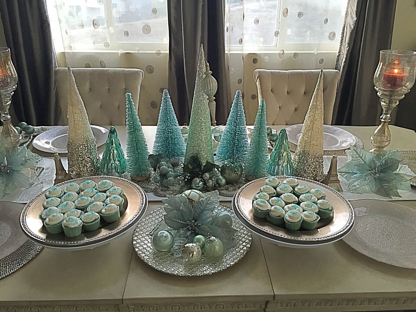 Teal and mint theme Christmas Dining Decor