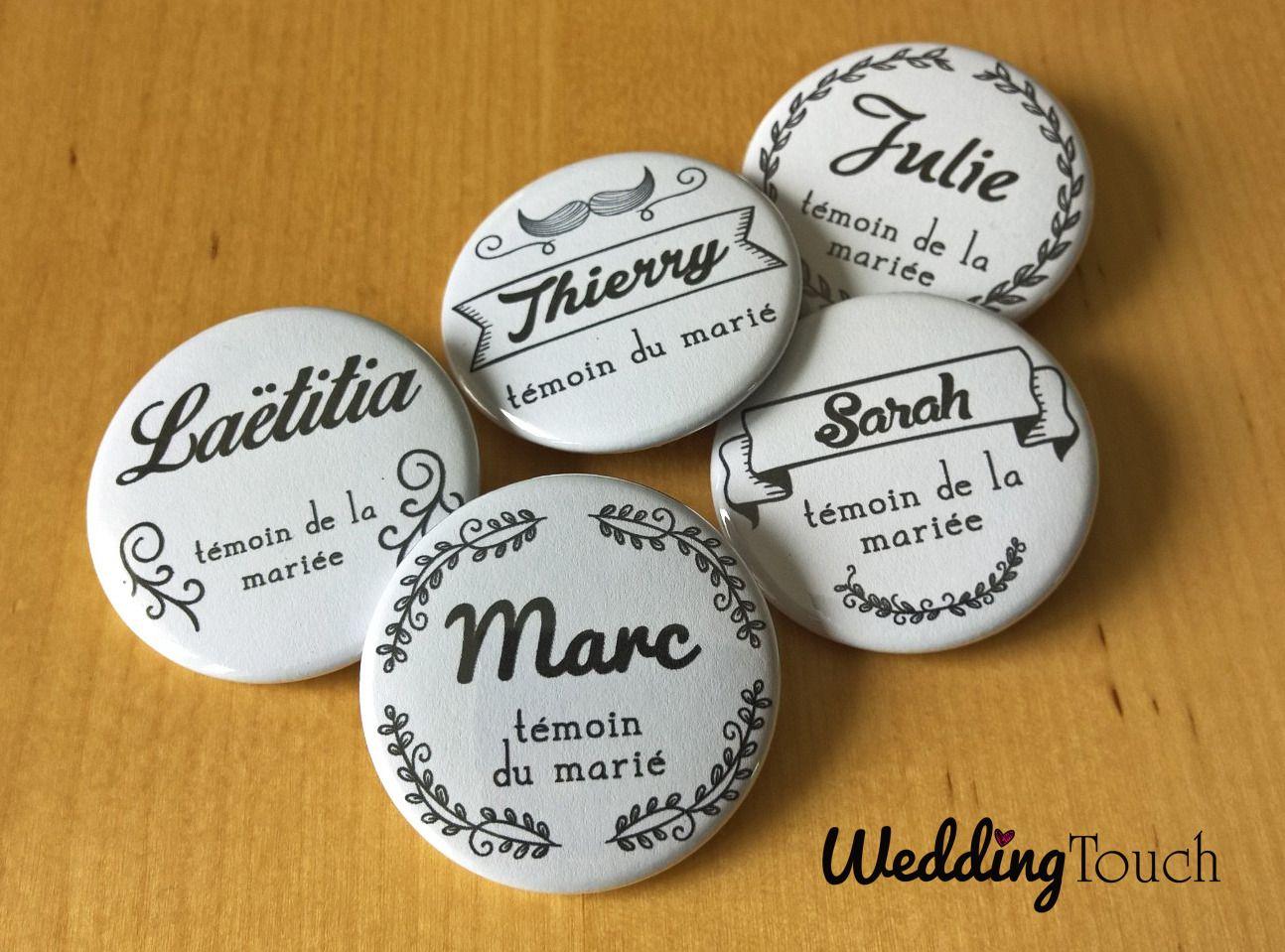badge personnalis avec pr nom de votre futur t moin de mariage cadeau t moins id es mariage. Black Bedroom Furniture Sets. Home Design Ideas