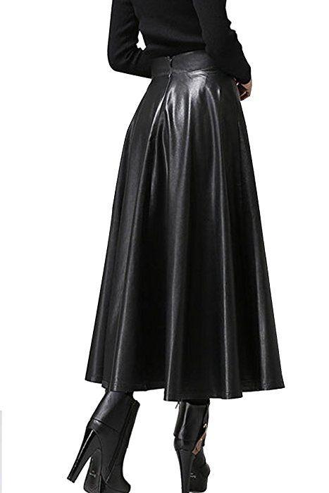 65dbcda09c427 Zeagoo Winter Women s Faux-leather Flared Full a Line Pleated Swing Dress  Midi Skirt Type 1 Medium